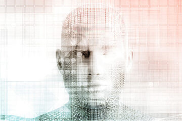 an image of a robot with human features
