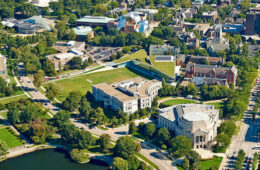 Aerial photo of campus overlooking Tinkham Veale University Center, Kelvin Smith Library, Severance Hall and more