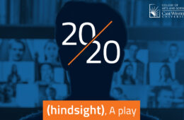 "Promotional photo for ""2020 (hindsight)"" with the title of the play over an orange banner at the bottom of an image that shows the silhouette of a man's head from behind looking at a computer screen with video chat pulled up with a collage of blurred faces and a blue tint over the image"
