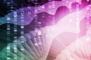 artist rendering of genomic data, showing DNA double-helix and digitized background