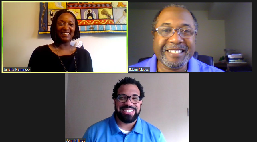Screenshot of a Zoom session with Janetta Hammock, Edwin Mayes and John Killings