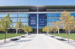 Photo of the Samson Pavilion exterior with debate signage on the building