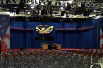 Photo of the debate stage in Veale Center in 2004