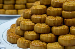Photo of mooncakes piled on a plate during 2019 Asian Mid-Autumn Festival