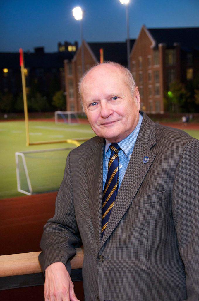 Photo of Jim Wyant overlooking CWRU football field