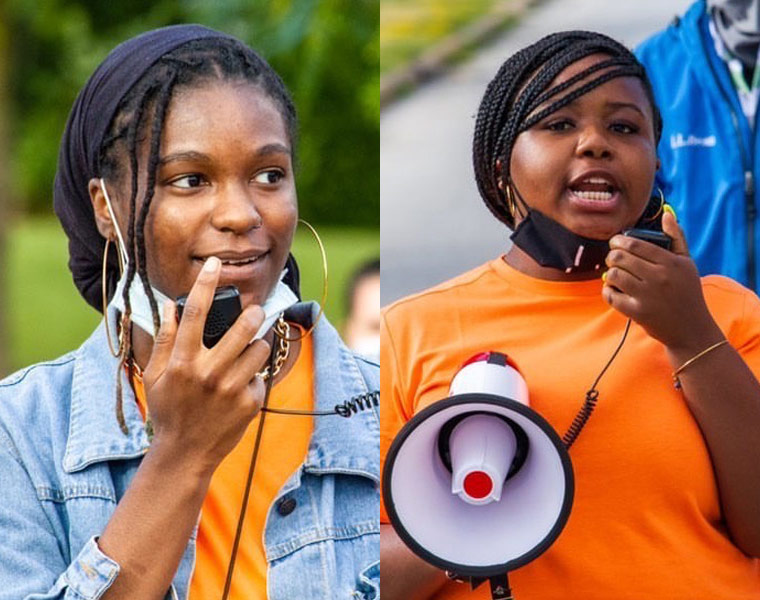 Photo compilation of photos of Aliah Lawson and Anaiya Manuel speaking during a peaceful protest