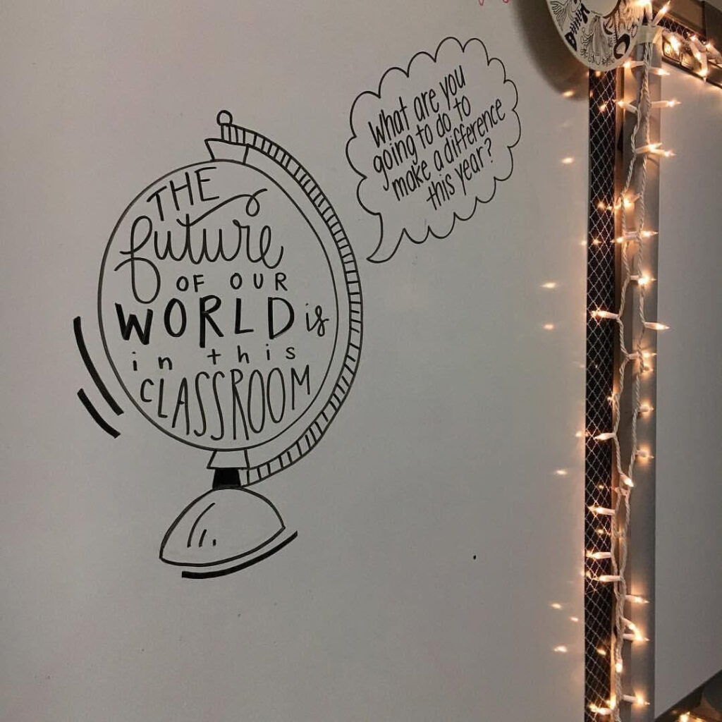 "Photo of a doodle of a globe with the words ""the future of the world is in this classroom"" written inside it and a thought bubble that says ""what are you going to do to make a difference this year?"""