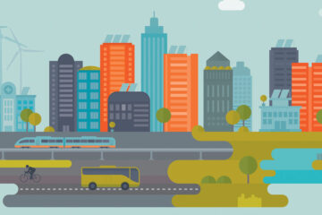 Graphic illustration of a downtown skyline.