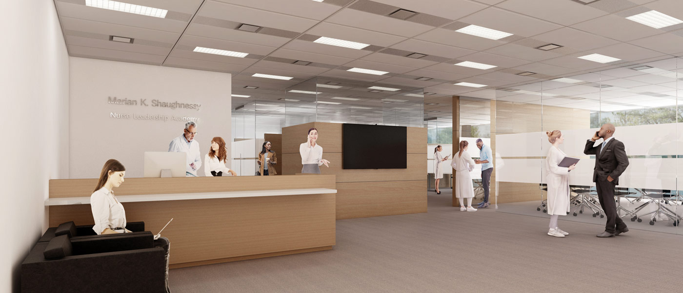 Artist's rendering of the new Marian K. Shaughnessy Nurse Leadership Academy space