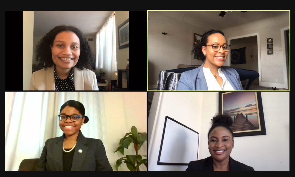 Screenshot of a meeting with four members of the BLSA mock trial team