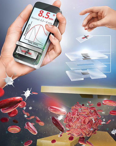 An illustration of the ClotChip technology, showing a handheld device, a finger being pricked and an artist's rendering of blood cells